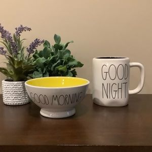 Rae Dunn GOOD MORNING/GOOD NIGHT Bowl & Mug 🌙 ☀️